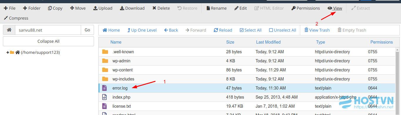 error log - sửa lỗi 500 cho wordpress