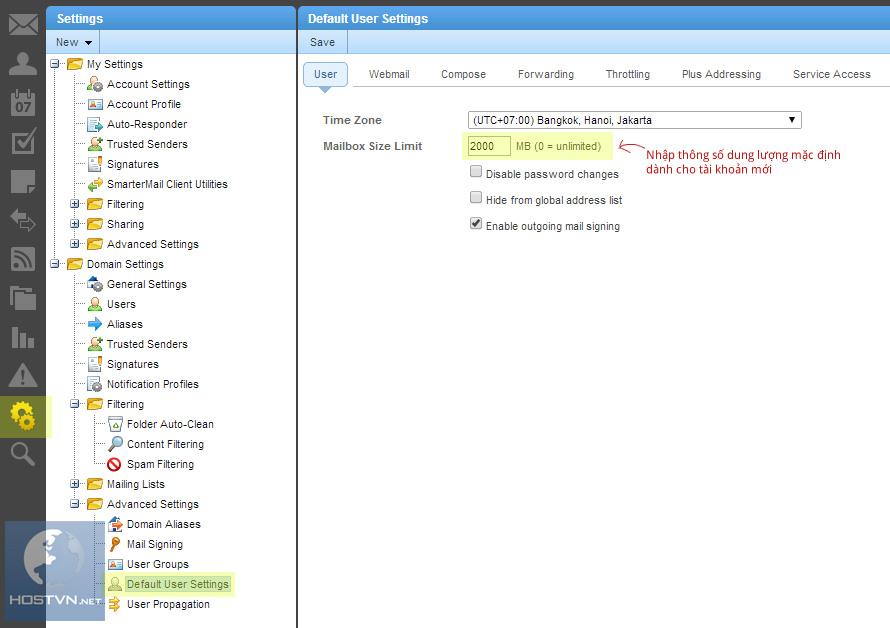Cập nhật thông số dung lượng mặc định của các tài khoản Email Pro