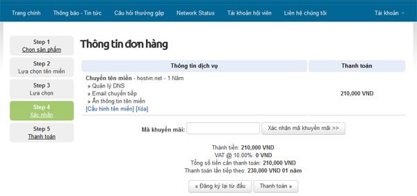 Kiểm tra thông tin chuyển tên miền về HostVN
