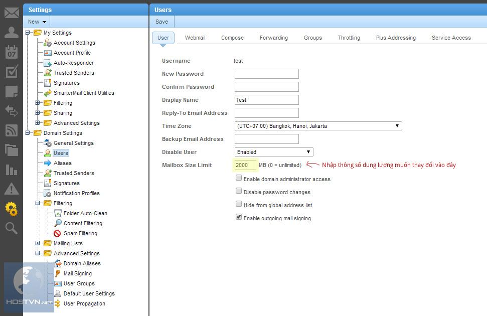 Cập nhật thông số dung lượng cho tài khoản Email Pro