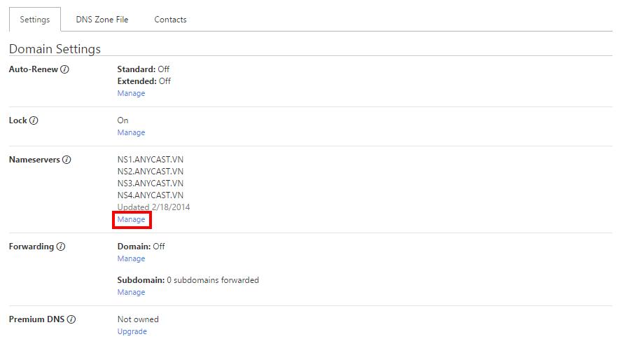 """Nếu bạn muốn cập nhật DNS, click vào """"Manage"""" ở phần Nameservers."""