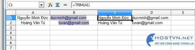 Xử lý dữ liệu với hàm TRIM