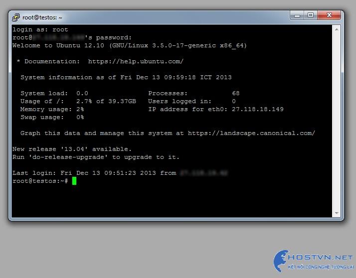 Giao diện đăng nhập thành công Ubuntu VPS